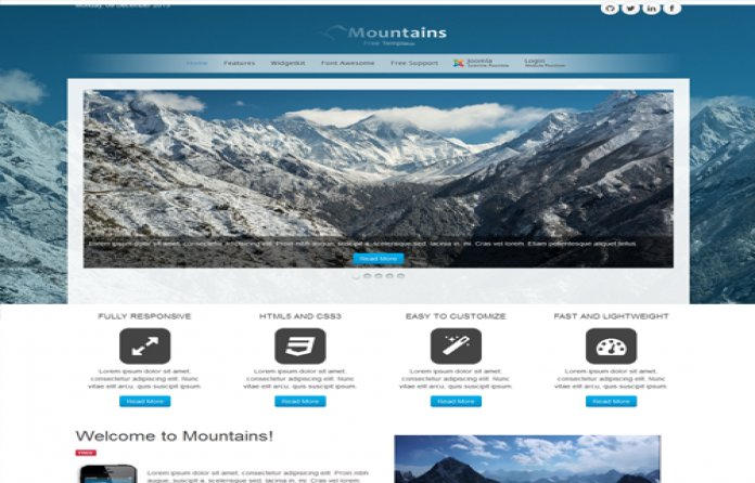 Mountains Free Joomla Responsive Theme!