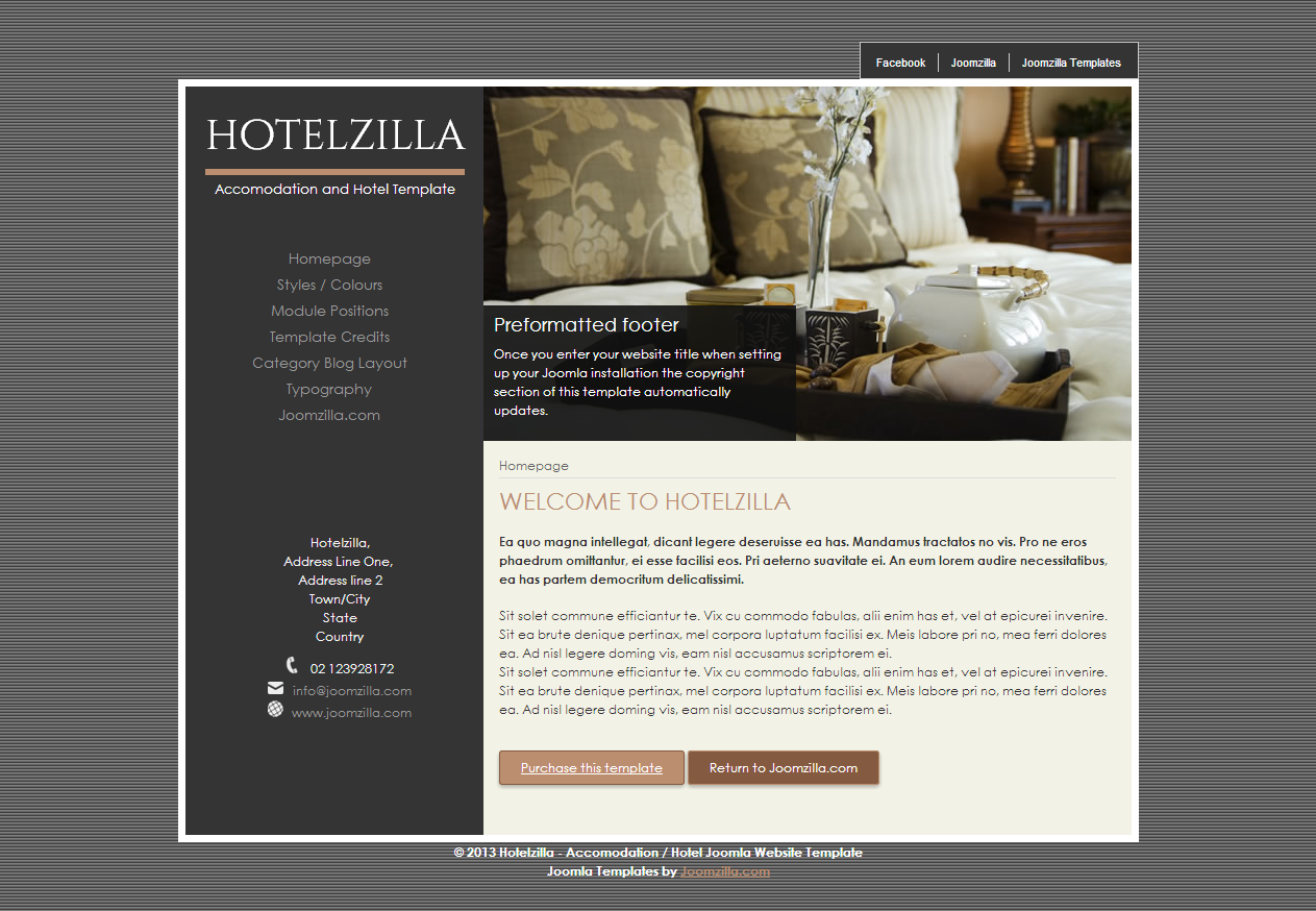 Hotelzilla - Elegant hotel stylish joomla website template ...